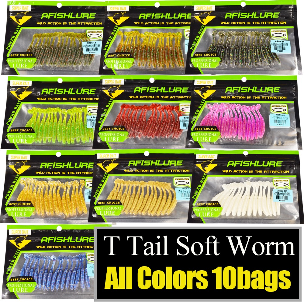 Soft Worm 150pcs lot Afishlure Paddle Tail soft lure 50mm 1g T Tail Worms Lure Fishing