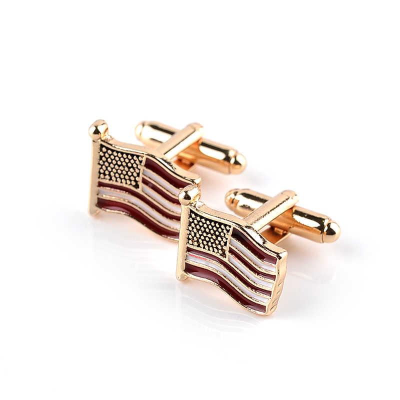 Летающий американский флаг США запонки с государственным флагом Для Мужчин's офисная модная запонка с запонками золото высококачественные запонки кнопки