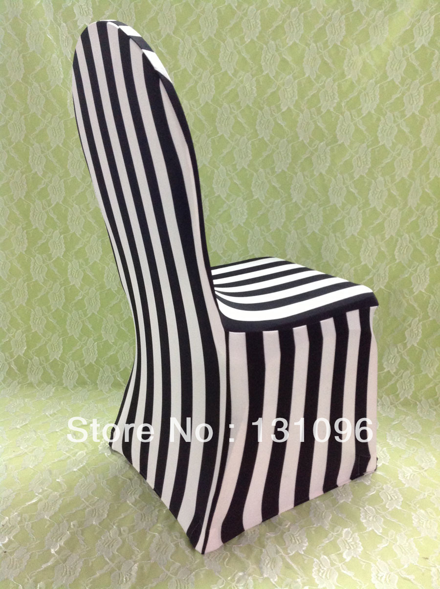 Wedding chairs black and white - 1pcs Black White Stripe Print Lycra Chair Cover Arch Front For Wedding Events Party Decoration