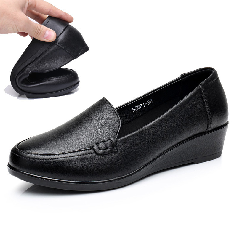 Image 3 - DONGNANFENG Mother Old Female Women Shoes Flats Cow Genuine Leather Loafers Round Toe Slip On PU Superstar Size 35 41 JN 58661-in Women's Flats from Shoes
