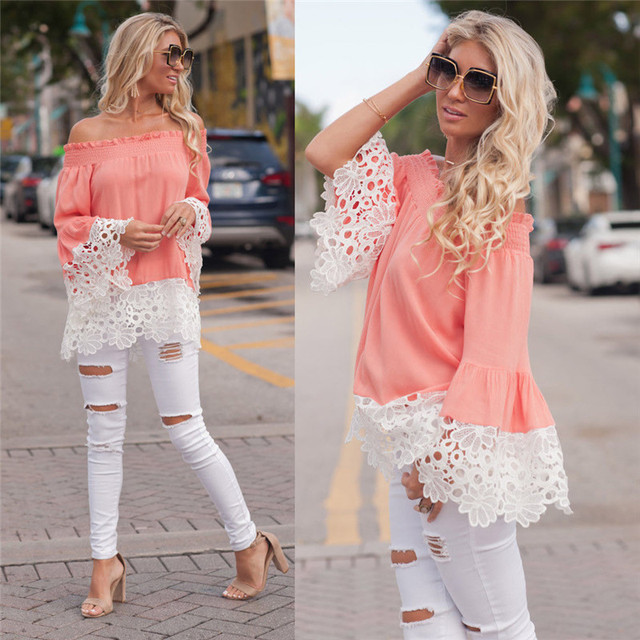 041276220897 Plus Size 2018 Women Blouse Floral Lash Neck Flare Sleeve Long Sleeve  Blouse Casual Tops Female Vintage Shirt Loose Tee Shirt