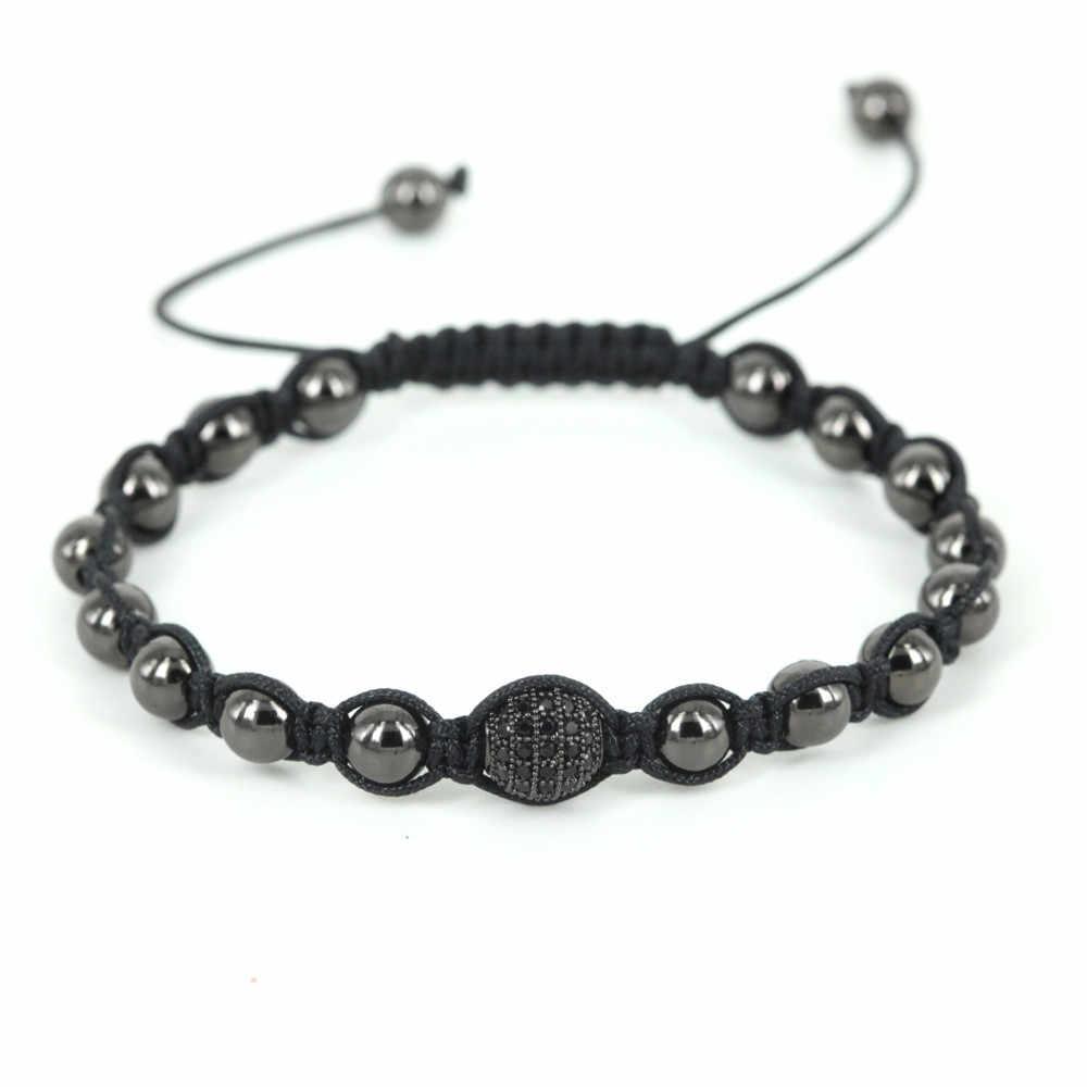 Bracelet pour hommes de marque, perles rondes en argent de haute qualité 6mm avec 8 MM Micro Pave noir CZ perles tressage Bracelet en macramé pour hommes, cadeau