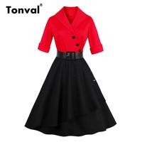 Tonval אדום ושחור שמלת כותנה להנמיך נשים צווארון כפתורי סתיו בציר חצי שרוול שמלות חגורת עור