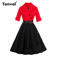 Tonval Red And Black Cotton Dress Turn Down Collar Women Autumn Buttons Vintage Half Sleeve Leather