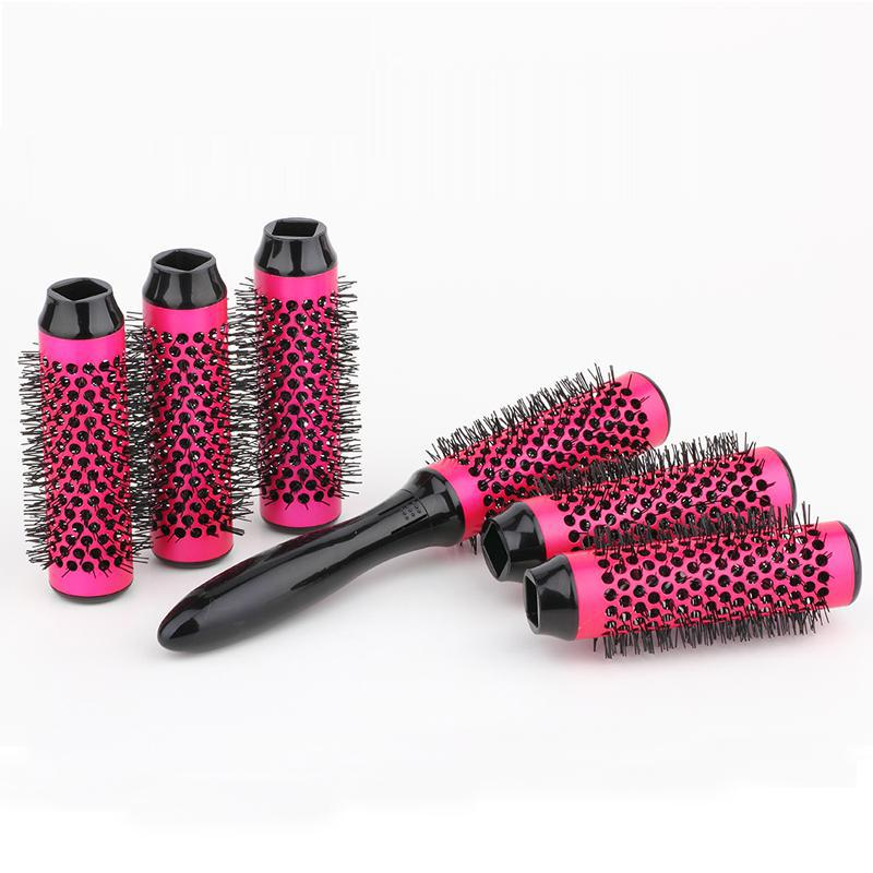6 Rollers Round Hair Brush Set Aluminum Barber Hair Comb 35mm Ceramic Hair Brush Salon Tool Detachable Head Hair Brush Comb Set
