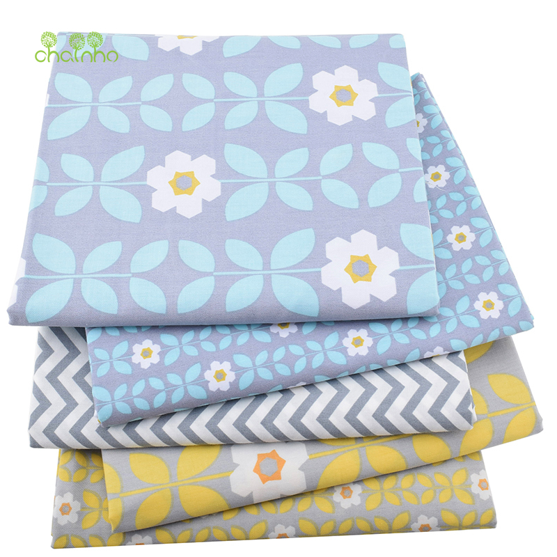 5st / lot, New Twill Bomull Tyg Patchwork Grå Tissue Cloth Fat Quarter Bundle Of Handgjord DIY Quiltning Sy Textilmaterial