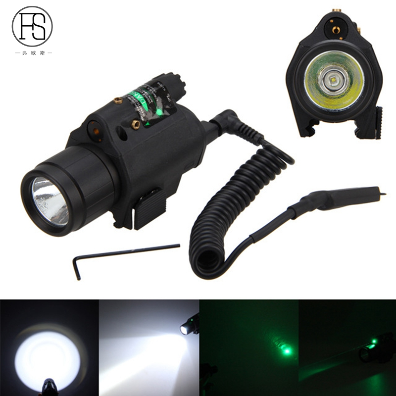 FS 2 in 1 Combo Tactical Pulsed Green Laser Sight with 200LM LED Q5 Flashlight for Hunting Rifle and Pistol Glock 17 19 22