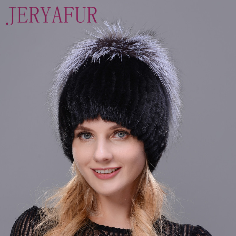 New Style Winter Warm Cap Rabbit Fur Flower With Fox Fur On The Top Natural Imported