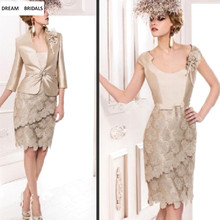 Sheath Knee-Length Champagne Lace Mother of the Bride