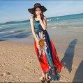 Пляж морской курорт пляж дес чешского стиль цветочный принт летнее шифоновое платье халат longué роковой CH-141