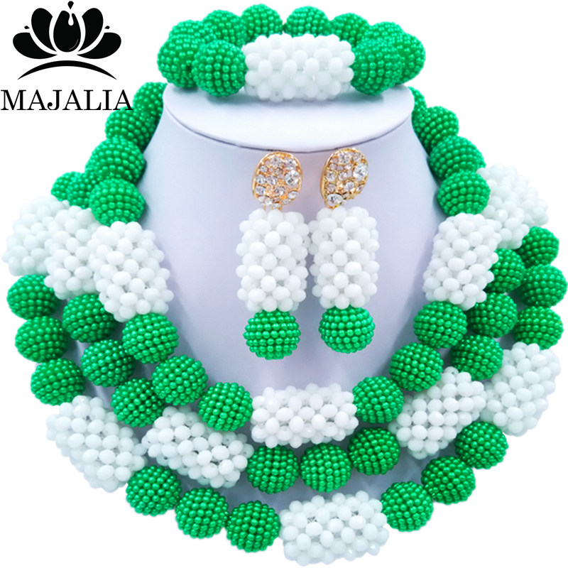 Majalia Official Store Majalia Classic Fashion Nigerian Wedding African Jewelery Set Green and White Crystal Necklace Bride Jewelry Sets 3SZ034