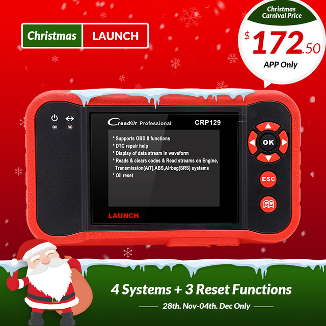 New Price Launch X431 Creader CRP129 CRP123 Creader VIII OBD2 diagnostic tool for ENG/AT/ABS/SRS + EPB/Oil/SAS reset X431 CRP 129 Scanner