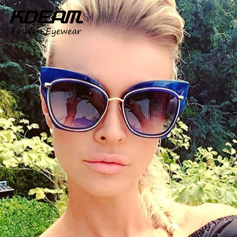 Swirly Pattern Cat Eye Sunglasses For Women Stormy Oversized Glasses Cats Silhouette gafas de sol With Protective Case K7156