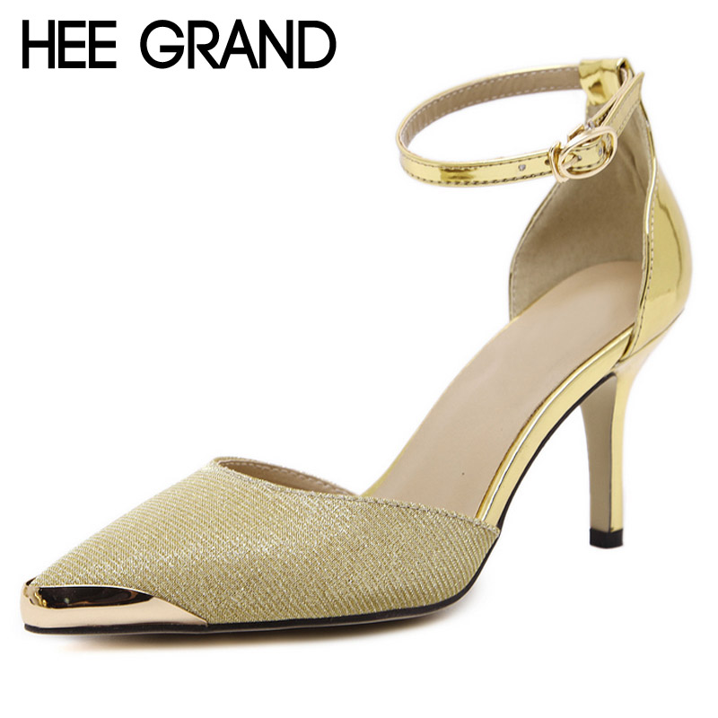 HEE GRAND Gold Silver High Heels 2017 Sexy Pumps Platform Casual Wedding Shoes Woman Elegant OL Women Sandals Size 35-40 WXG337 hee grand women s wedges heel highs for 2017 summer cut outs love heart bottom pumps wedding shoes woman size 35 39 xwd401