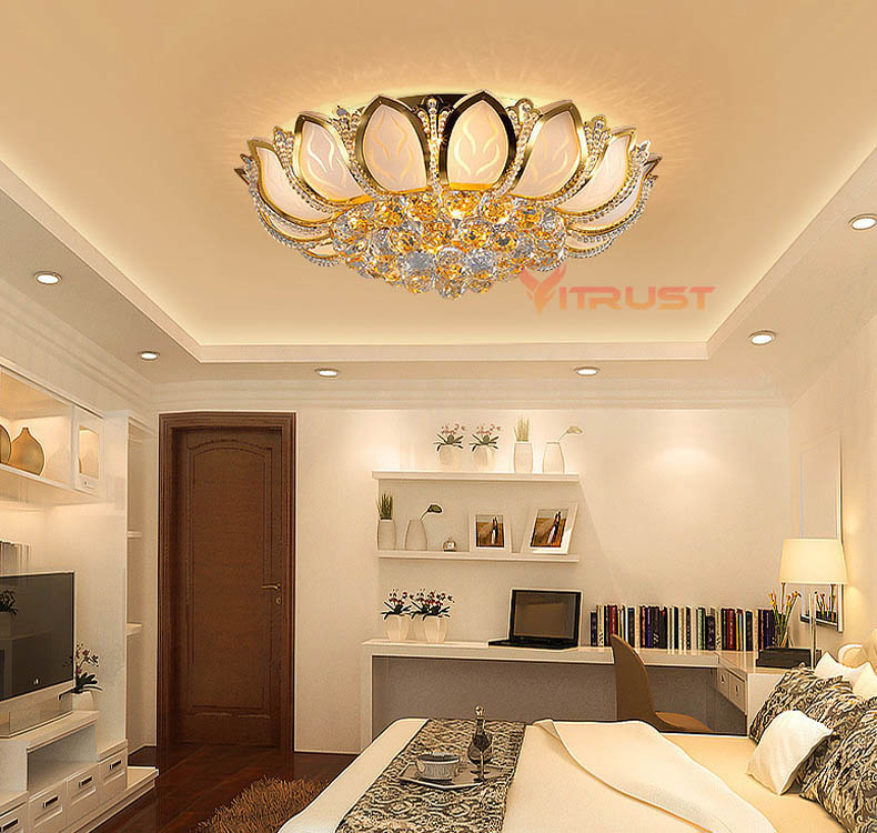 European Luxury Golden LED crystal Ceiling Light E14 Bulbs Golden Lighting Crystal Circular Living Room Ceiling Lamp traditional crystal lamp golden circular living room lamp lighting luxury bedroom lamp led patch ceiling lights lmy 080