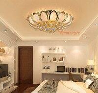 European Luxury Golden LED Crystal Ceiling Light E14 Bulbs Golden Lighting Crystal Circular Living Room Ceiling