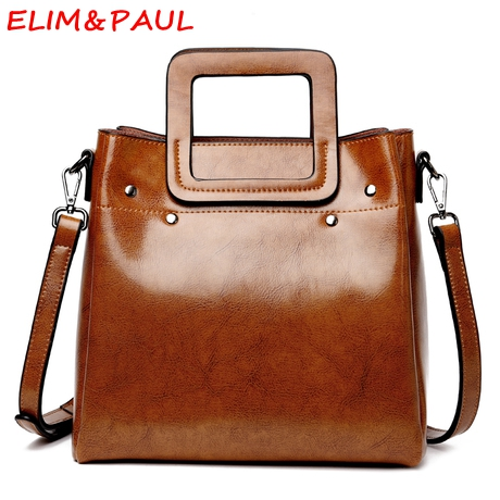 ELIM&PAUL Genuine Leather Bag Quality Women Handbags Black Grey Brown Coffee Leather Crossbody Shoulder Bag Ladies Hand bags elim