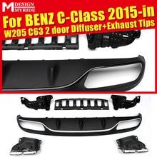 W205 C63 Diffuser+Exhaust Tips For Benz 2 door Rear Bumper Diffuser Lip 4-Outlet Exhaust Endpipe C180 C250 C300 2015+