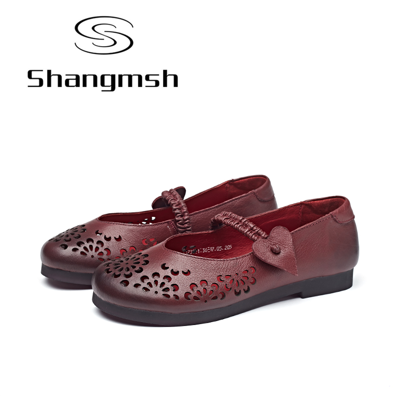 Shangmsh Ballet Shoe 2017 Handmade Genuine Leather Shoes Women Soft Slip-on Solid Casual Flat Pregnant Mother Driving Loafers