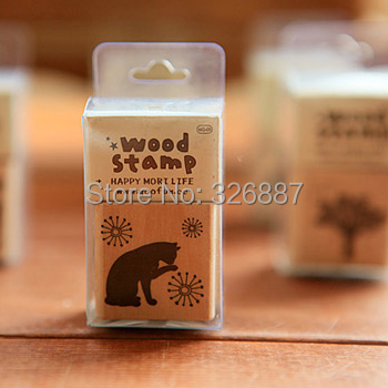 Retro Stamps Cat/Bird/Tree DIY Cute wood stamp Wooden Rubber Diary Scrapbooking Album Gift DIY Card Making Decoration jwhcj vintage cat date wood roller stamps for children diy handmade scrapbook photo album diary book decoration students stamps
