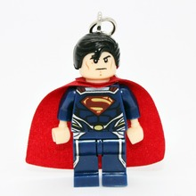 Wholesale Superman Mrvel Super Hero Keyring Minifigures Keychain Custom Keychains DIY Handmade Key Chain Building Blocks Toy