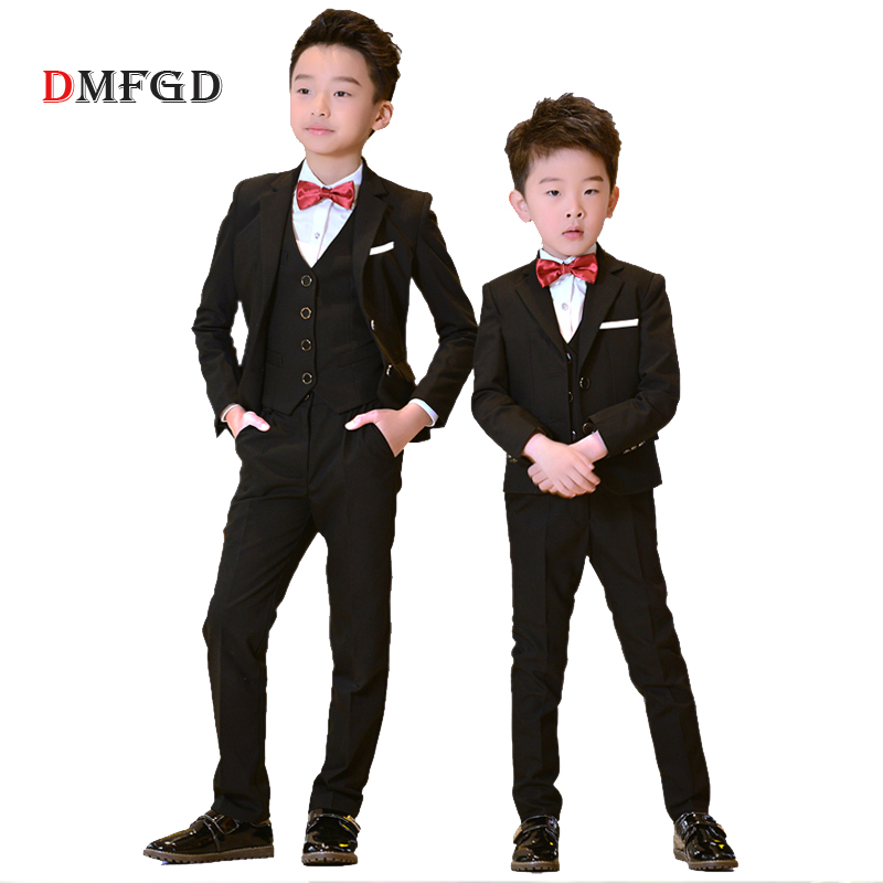 2018 Children black formal suits boy blazers set teenagers jacket trendy winter clothes kids wedding coat outfits party costume цена 2017