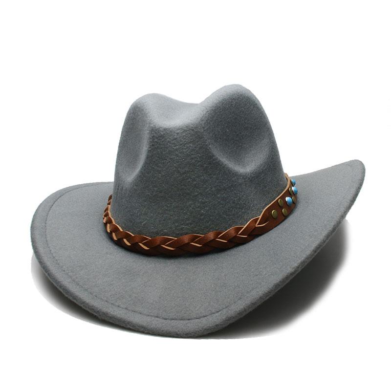 LUCKYLIANJI Feltro di Lana Cappello Da Cowboy Occidentale Per Le ... 4966dc0d32fe