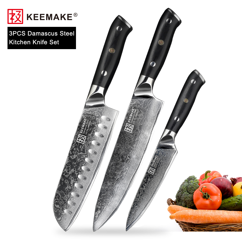 KEEMAKE 3 PCS ชุดมีดครัว Santoku Chef ยูทิลิตี้มีดญี่ปุ่น VG10 ดามัสกัสเหล็กมีดโกน Sharp มีดทำอาหาร G10 Handle-ใน ชุดมีด จาก บ้านและสวน บน   1