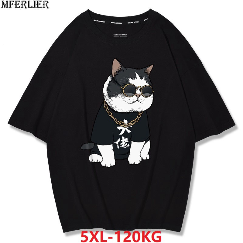 MFERLIER summer mens short sleeve cotton t-shirts print dog cat funny plus size big 4XL 5XL tees loose tShirt black Hip hop tops 1