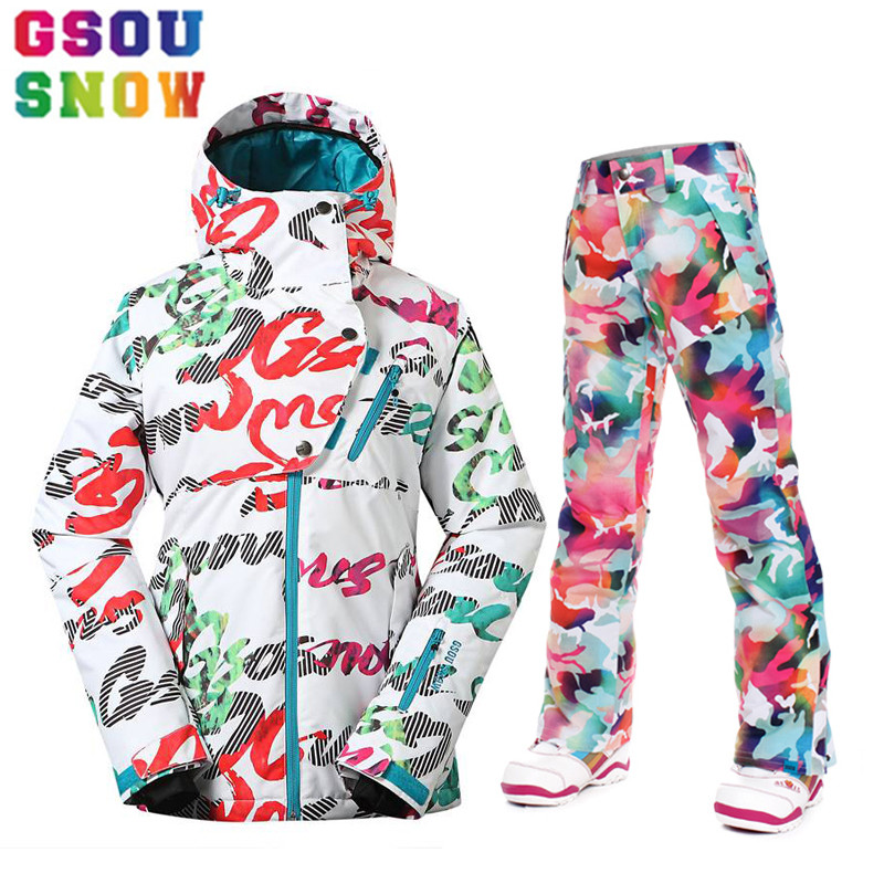 GSOU SNOW Brand Ski Suits Women Winter Jacket Thicken Pants Female Outdoor Snowboard Sets Waterproof Breathable Snow Clothes