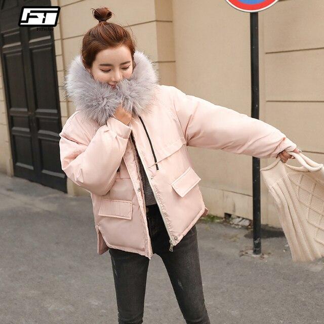Fitaylor искусственный мех воротник короткие парки свободные подпушка хлопковые пальто зимние для женщин куртки с капюшоном розовый черный бо...