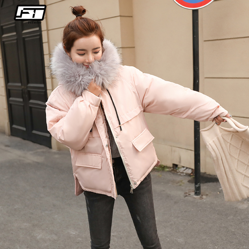 Fitaylor Faux Fur Collar Short   Parkas   Loose Down Cotton Coats Winter Women Hooded Jackets Pink Black Burgundy Snow Outwear