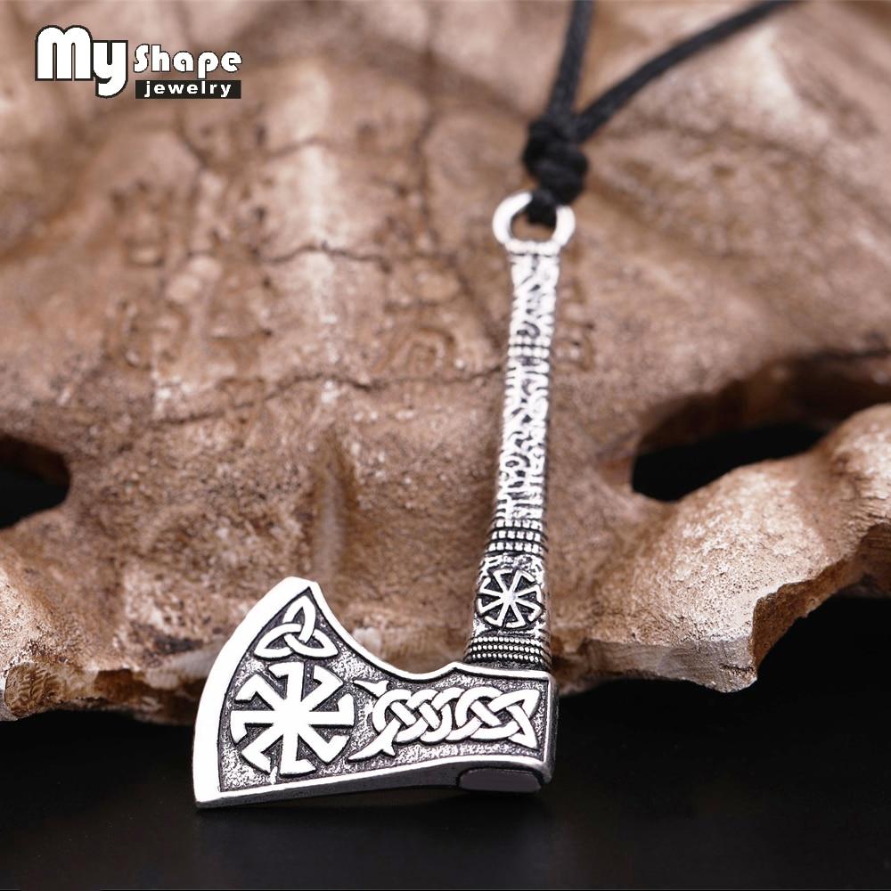 My shape Slavic Talisman Kolovrat Sun Wheel Amulet Symbol Luck Celtics Knots Viking Axe Thor Hammer Pendants Norse Men Necklace