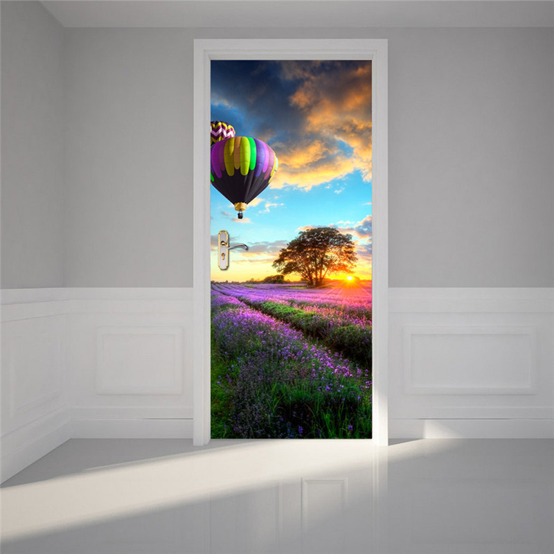 "Image 3 - Purple Lavender Blue Town 3d Door Wallpaper Murals Wall Stickers  Beach for Home Decoration Removable Art Door Decals 30.3x78.7""-in Wall Stickers from Home & Garden"
