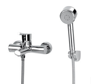 Modern Widespread Chrome Brass Wall Mounted Bathroom Shower Mixer Tap Tub Faucet Shower Set + Handheld / Hand Shower (F8005-308)