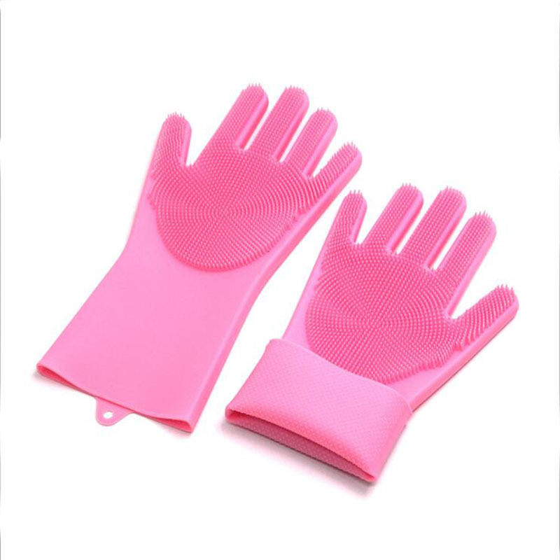 1 pair of multifunctional silicone scrubber rubber gloves food grade cleaning dishwashing brush magic