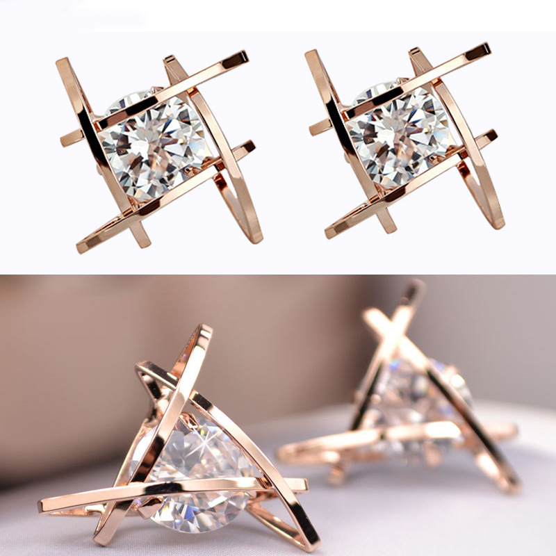European and American Trinkets Triangle Zircon Earrings Toe Square Zircon Stud Earrings Women Earrings Wholesale(China)