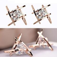 European and American Trinkets Triangle Zircon Earrings Toe Square Stud Women Wholesale