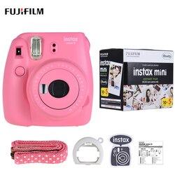Fujifilm instax mini 9 câmera fuji câmera instantânea cam filme com espelho selfie + 50 folhas branco filme foto papel