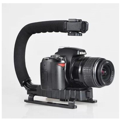 New U Shape Flash Camera Bracket Stand Grip Holder Black For DV Camcorder high quality