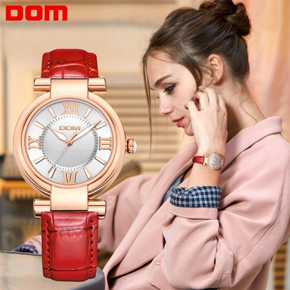DOM женские часы брендовые Роскошные модные повседневные кварцевые часы водонепроницаемые кожаные Наручные часы женские наручные часы G-1688