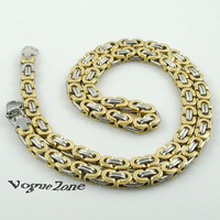 2 Tone Silver Gold Mens Stainless Steel Byzantine Chain Necklaces Jewellery Hip Hop Rock Gift Wholesale