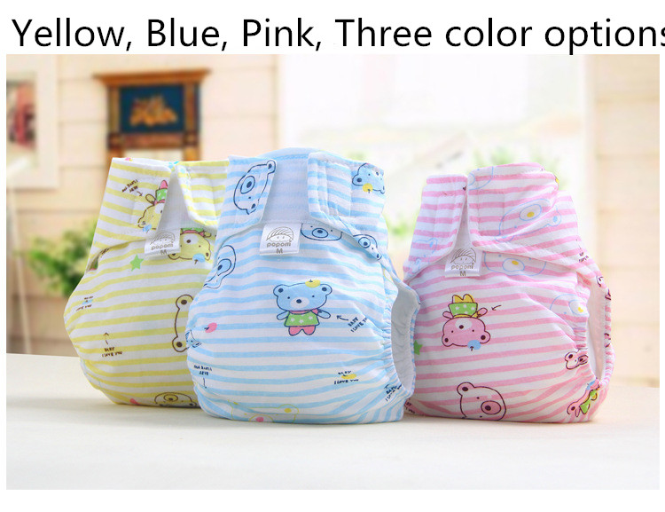 1PCS New Baby Cloth Diapers 100% Breathable Cotton Cartoon Baby Every Diaper Washable To Prevent Side Leakage #48