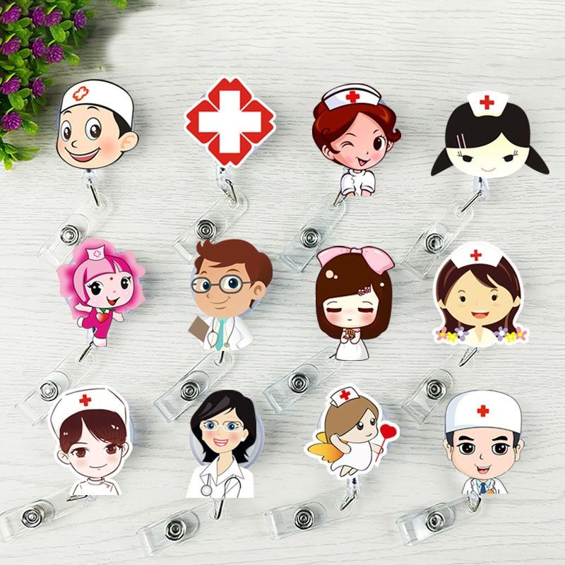 1 Pc Unisex Lanyard Id Karte Abzeichen Halter Versenkbaren Rollen Cartoon Nette Student Nurse Ärzte Name Tag Karte Büro Liefert