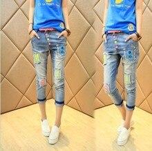 2016 новый Корейский моды личности цифровой вышитые патч семь брюки джинсы