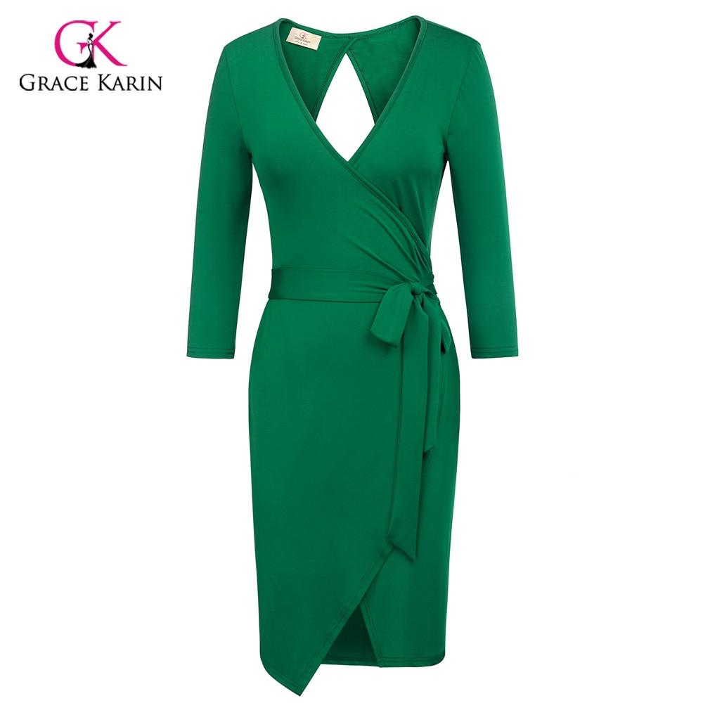 48ec7e3118f19 Grace Karin Short Evening Dress 2018 Sheath Bodycon Pencil 3/4 Sleeve  Business Formal Elegant Evening Party Green Spring Dresses