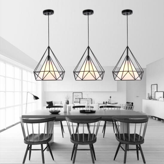 Black Birdcage Pendant Lamp Modern Iron Minimalist Retro Light Scandinavian Loft Pyramid Light Metal Cage Diameter