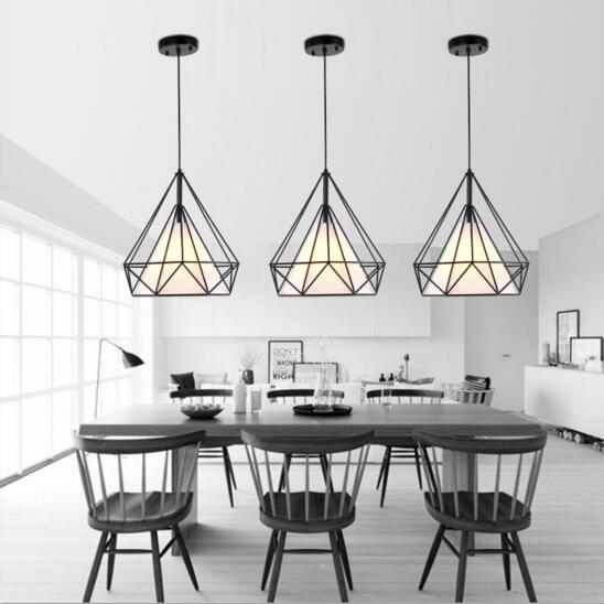 Black Birdcage Pendant Lamp Modern Iron Minimalist Retro Light Scandinavian Loft Pyramid Light Metal Cage Diameter