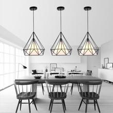 black birdcage pendant lamp modern iron minimalist retro light Scandinavian loft pyramid light metal cage diameter 25cm