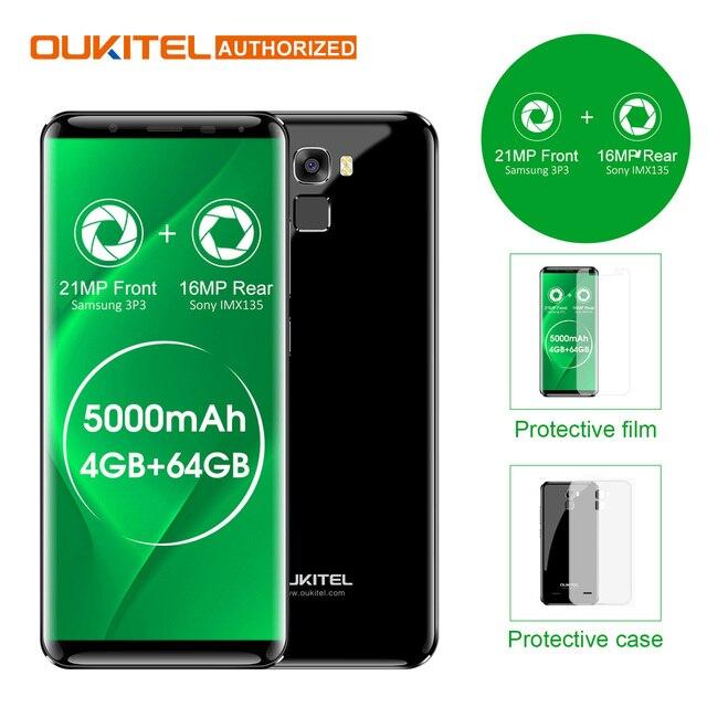 "Oukitel K5000 5.7"" HD 18:9 4G Smartphone 5000mAh Android 7.0 4GB+64GB MTK6750 Octa Core 21MP+16MP Fingerprint Mobile Cellphone"